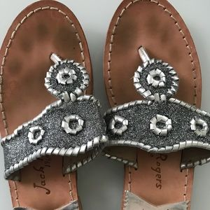 Jack Rogers Silver Glitter Sandals